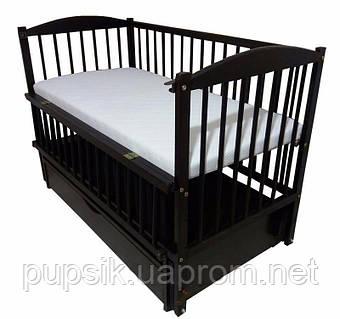 Кроватка детская Labona Элит №10 Бук на маятнике с ящиком, откидная боковина