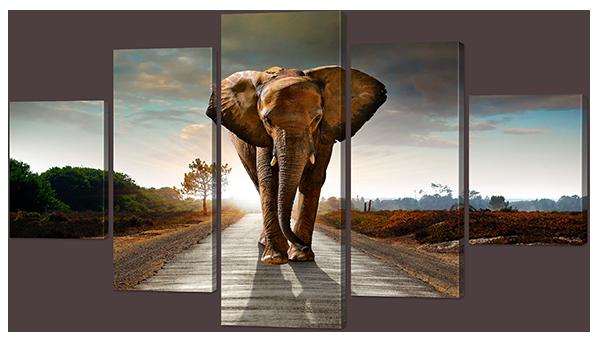 """Модульная картина """"Пейзаж со слоном"""" 142*80см"""