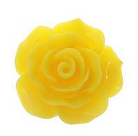 Кабошон Цветок, Роза, Смола, Желтый, 20 mm x 20 mm, Фурнитура для изготовления бижутерии