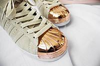 Женские Кроссовки Adidas Superstar 80s Metal Toe (Off White / Off White / Copper Metallic)