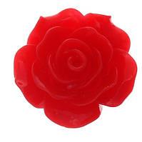 Кабошон Цветок, Роза, Смола, Красный, 20 mm x 20 mm, Фурнитура для изготовления бижутерии