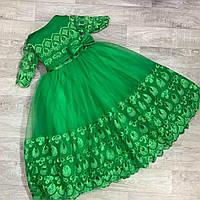 Детское бальное нарядное платье зелёное