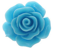 Кабошон Цветок, Роза, Смола, Голубой, 20 mm x 20 mm, Фурнитура для изготовления бижутерии