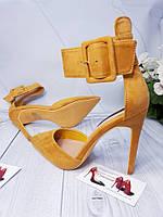 Открытые крутые туфли желтые, фото 1
