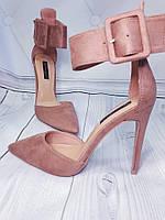 Открытые крутые туфли пудра, фото 1
