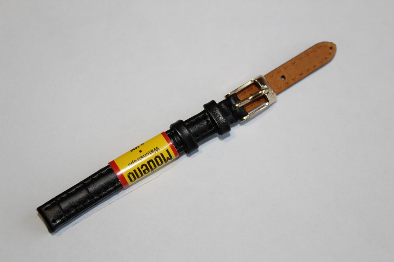 Ремешок для часов Modeno-кожаный ремень для часов черного цвета 8 мм.