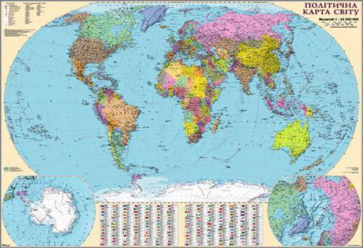 Карта Политическая карта мира 160*110см Картон/планки М1:22000000