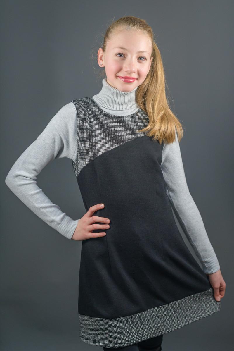 Сарафан школьный чёрного цвета, для девочки, Польша., фото 1