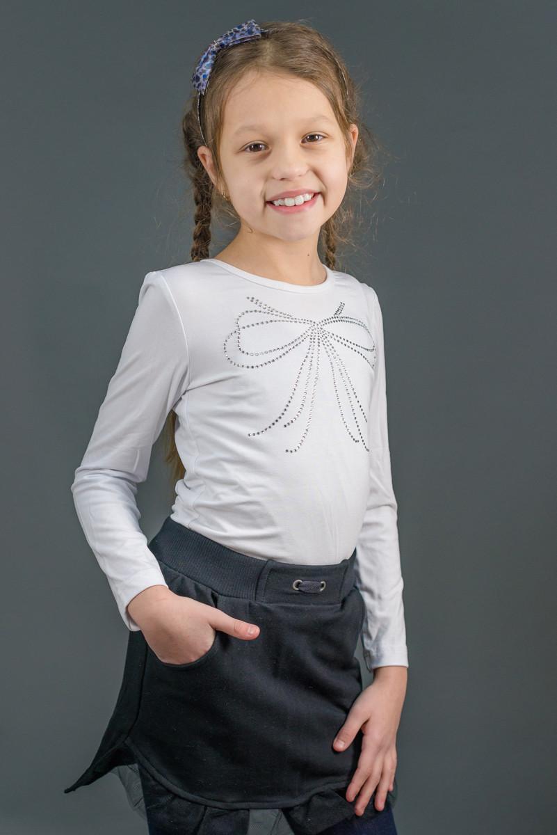 Блузка школьная трикотажная, длинный рукав.  Бант., фото 1