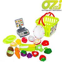 Детский игровой набор овощей и фруктов в корзине