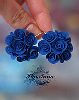 """""""Элегантность""""серьги с синими розами  из полимерной глины. Подарок на Новый год"""