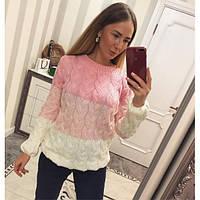 Теплый женский трехцветный свитер шерсть с акрилом