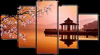 """Модульная картина """"Весна на востоке"""" Натуральный холст, 123х69"""