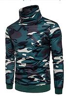 Камуфляжный  мужской свитер с воротником L-XXL зеленый