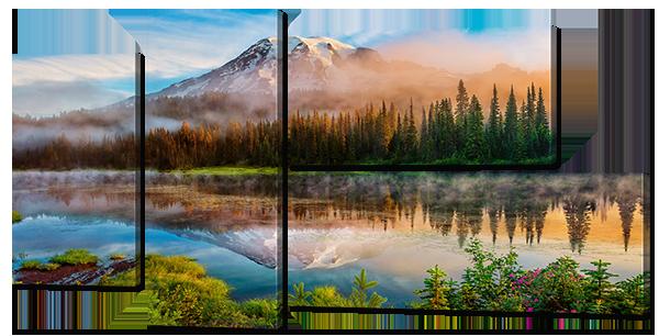 """Модульная картина """"Отражение горы лес"""""""