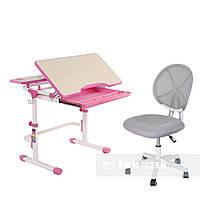 Растущая парта FunDesk Lavoro L Pink + детское кресло для школьника LST1 Gray