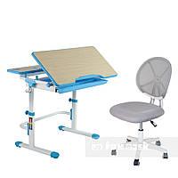 Растущая парта FunDesk Lavoro L Blue + детское кресло для школьника LST1 Gray