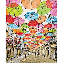 Картина по цифрам Улица парящих зонтиков