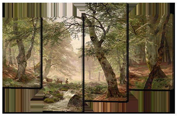 """Модульная картина """"Олени в лесу"""""""