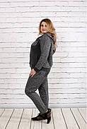 Женский удобный спортивный костюм на осень больших размеров 0739, цвет темно серый / размер 42-74, фото 2
