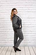 Женский удобный спортивный костюм на осень больших размеров 0739, цвет темно серый / размер 42-74, фото 3