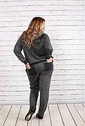 Женский удобный спортивный костюм на осень больших размеров 0739, цвет темно серый / размер 42-74, фото 4
