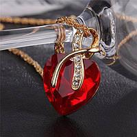 Красивый женский кулон Красное сердце!, фото 1