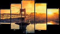 "Модульная картина ""Вид на закат и мост"""
