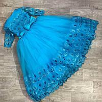 Детское бальное нарядное платье голубое