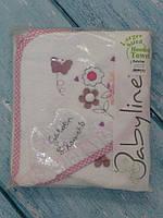 """Махровое полотенце для новорожденного с варежкой """"Цветы"""""""