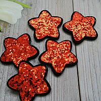Заготовка из фетра Звезда + пайетки Красная Размер 3,5 х 3,5 см
