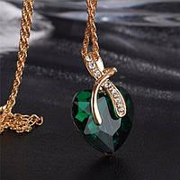 Красивый женский кулон Зеленое сердце!, фото 1