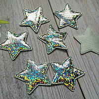 Тканевый декор Звезда-подушечка (голограмма) Размер 3 х 2,5 см Цвет - СЕРЕБРО