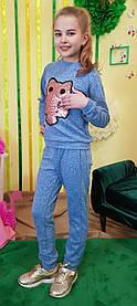 Модный прогулочный костюм для девочки Сова р.128-146 голубой