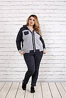 Женский удобный спортивный костюм на осень больших размеров 0739, цвет темно синий / размер 42-74