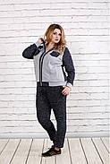 Женский удобный спортивный костюм на осень больших размеров 0739, цвет темно синий / размер 42-74, фото 2