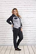 Женский удобный спортивный костюм на осень больших размеров 0739, цвет темно синий / размер 42-74, фото 3