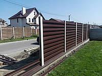 Забор из штакета горизонтальный