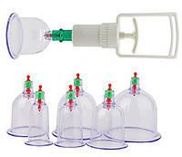 Антицеллюлитные вакуумные банки массажные 6 шт с насосом