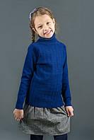 "Свитер ""Гольф"" Many&Many для девочки синий, ажурная вязка."