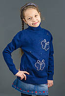 "Свитер ""Гольф"" Many&Many для девочки, цвет синий, Бабочки., фото 1"
