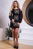 Оригинальное женское короткое платье из костюмной ткани, с вышивкой, чёрное, размер 50