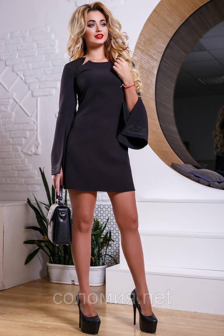 aff4629a2bf0 Элегантное черное платье с расклешенным от локтя рукавом 44-50р -  Интернет-магазин