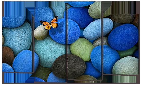 """Модульная картина """"Бабочка, камни"""""""
