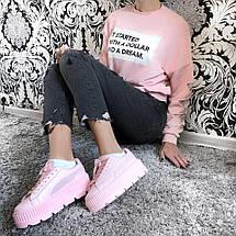 Криперы, кроссовки Puma Creeper Platform Pink Leather (Реплика 1:1), фото 2