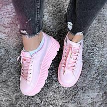 Криперы, кроссовки Puma Creeper Platform Pink Leather (Реплика 1:1), фото 3
