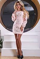 Оригинальное женское короткое платье из костюмной ткани, с вышивкой, розовое, размер 48