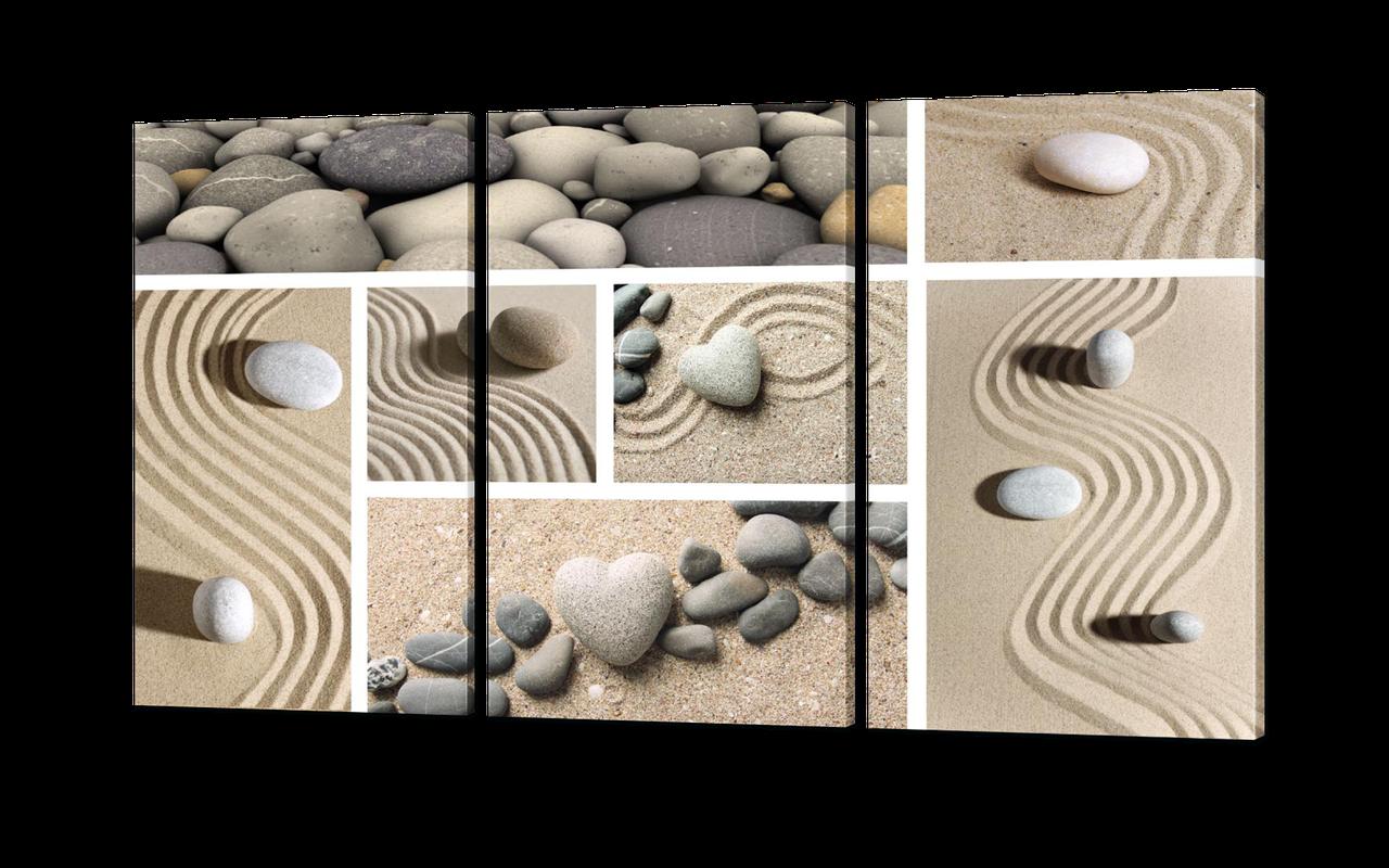 Модульная картина Коллаж песок и камни