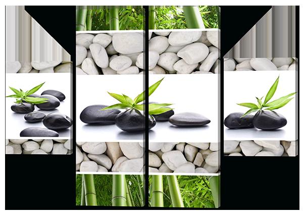 Модульная картина  Коллаж камни бамбук