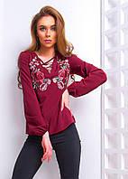 Женская блуза со шнуровкой и вышивкой на груди 6613104